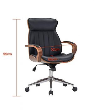 IDS Home Contemporary Walnut Wood Executive Swivel Ergonomic With Arms Office Furniture Bentwood Mid Back Desk Chair Black 0 2 300x360