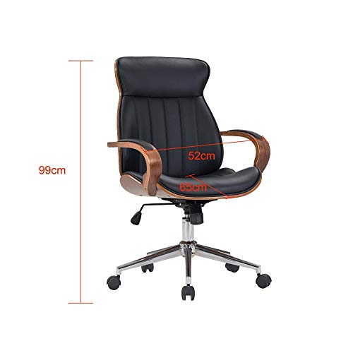 IDS Home Contemporary Walnut Wood Executive Swivel Ergonomic With Arms Office Furniture Bentwood Mid Back Desk Chair Black 0 2