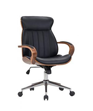 IDS Home Contemporary Walnut Wood Executive Swivel Ergonomic With Arms Office Furniture Bentwood Mid Back Desk Chair Black 0 300x360
