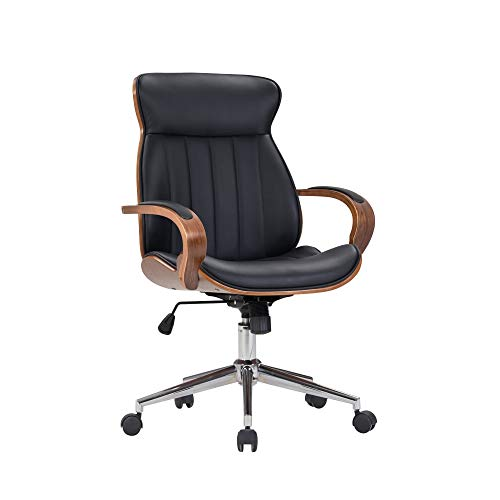 IDS Home Contemporary Walnut Wood Executive Swivel Ergonomic With Arms Office Furniture Bentwood Mid Back Desk Chair Black 0