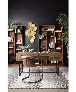 Industrial Farmhouse Writing Desk Natural Rectangular Metal Pine Steel Distressed 0 300x360