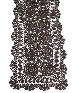 KEPSWET Cotton Handmade Crochet Lace Table Runner Dark Brown Rectangle Coffee Table Dresser Decor 14x72 Inch 0 300x360