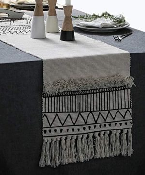 KIMODE Moroccan Fringe Table Runner 14 X 87 In Bohemian Geometric Farmhouse Cotton Fabric Handmade Woven Tufted Tassels Table Linen Machine Washable Minimalist Home Decorative Black And White 0 300x360