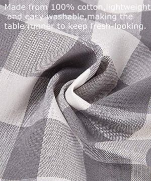LONG WAY 100 Cotton Dining Table Runner 13 By 72 InchesBuffalo Check Table Runner Machine Washable Everyday Table Dcor Middle Grey Plaid 0 0 300x360