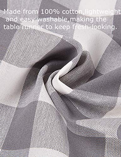LONG WAY 100 Cotton Dining Table Runner 13 By 72 InchesBuffalo Check Table Runner Machine Washable Everyday Table Dcor Middle Grey Plaid 0 0