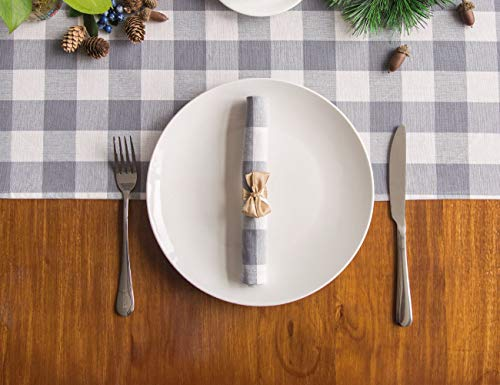 LONG WAY 100 Cotton Dining Table Runner 13 By 72 InchesBuffalo Check Table Runner Machine Washable Everyday Table Dcor Middle Grey Plaid 0 1