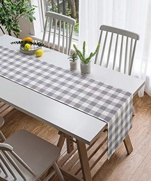 LONG WAY 100 Cotton Dining Table Runner 13 By 72 InchesBuffalo Check Table Runner Machine Washable Everyday Table Dcor Middle Grey Plaid 0 2 300x360