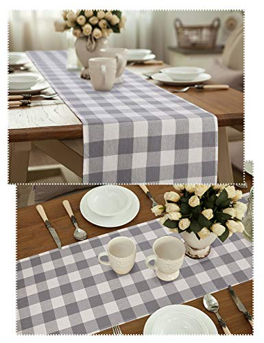 LONG WAY 100 Cotton Dining Table Runner 13 By 72 InchesBuffalo Check Table Runner Machine Washable Everyday Table Dcor Middle Grey Plaid 0 3