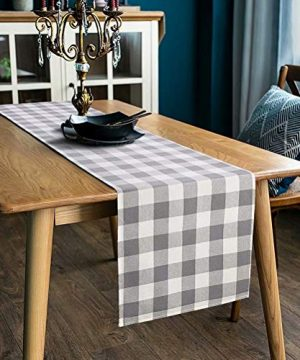 LONG WAY 100 Cotton Dining Table Runner 13 By 72 InchesBuffalo Check Table Runner Machine Washable Everyday Table Dcor Middle Grey Plaid 0 300x360