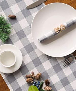 LONG WAY 100 Cotton Dining Table Runner 13 By 72 InchesBuffalo Check Table Runner Machine Washable Everyday Table Dcor Middle Grey Plaid 0 4 300x360