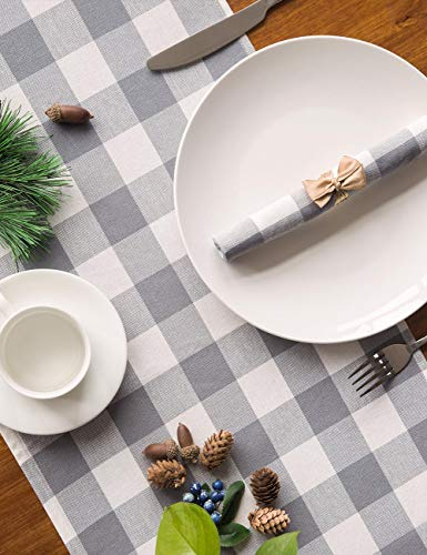 LONG WAY 100 Cotton Dining Table Runner 13 By 72 InchesBuffalo Check Table Runner Machine Washable Everyday Table Dcor Middle Grey Plaid 0 4
