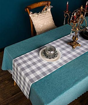 LONG WAY 100 Cotton Dining Table Runner 13 By 72 InchesBuffalo Check Table Runner Machine Washable Everyday Table Dcor Middle Grey Plaid 0 5 300x360