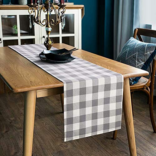 LONG WAY 100 Cotton Dining Table Runner 13 By 72 InchesBuffalo Check Table Runner Machine Washable Everyday Table Dcor Middle Grey Plaid 0
