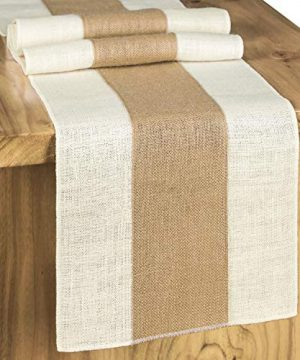 Letjolt Splicing Burlap Table Runner Rustic Table Runner Woven Table Decor Farmhouse Runner Weekend Picnic Jute Woven Fabric Light Colour Edge 12x72 Inches 0 300x360