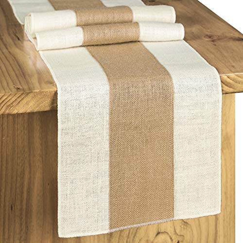 Letjolt Splicing Burlap Table Runner Rustic Table Runner Woven Table Decor Farmhouse Runner Weekend Picnic Jute Woven Fabric Light Colour Edge 12x72 Inches 0