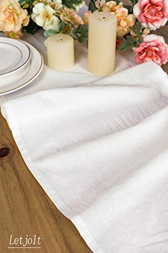 Letjolt White Table Runner Cotton Table Runner Ruffle Rustic Fabric Decor Wedding Baby Shower Home Kitchen Birthday Party White 12x72 Inches 0 0