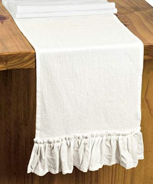 Letjolt White Table Runner Cotton Table Runner Ruffle Rustic Fabric Decor Wedding Baby Shower Home Kitchen Birthday Party White 12x72 Inches 0 1 300x360