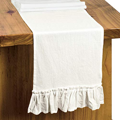 Letjolt White Table Runner Cotton Table Runner Ruffle Rustic Fabric Decor Wedding Baby Shower Home Kitchen Birthday Party White 12x72 Inches 0 1