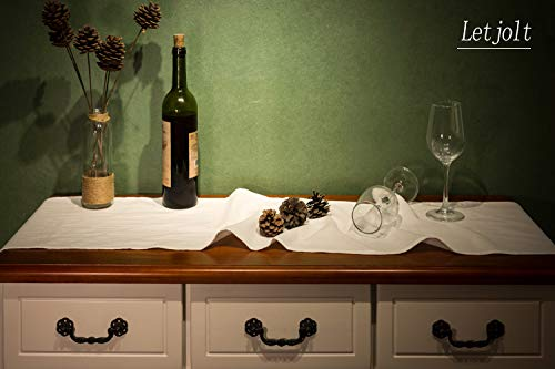 Letjolt White Table Runner Cotton Table Runner Ruffle Rustic Fabric Decor Wedding Baby Shower Home Kitchen Birthday Party White 12x72 Inches 0 3