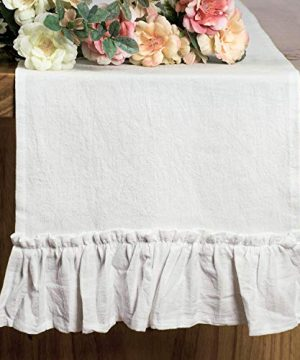 Letjolt White Table Runner Cotton Table Runner Ruffle Rustic Fabric Decor Wedding Baby Shower Home Kitchen Birthday Party White 12x72 Inches 0 300x360