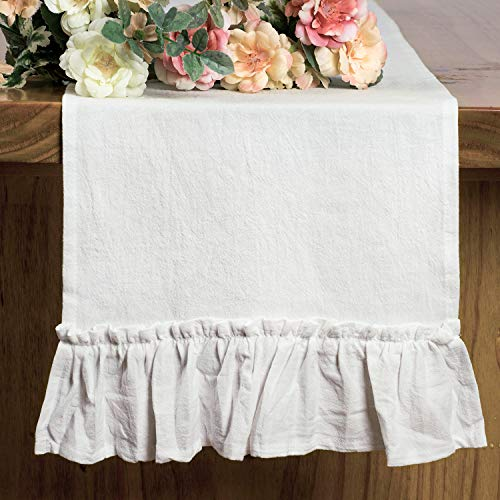 Letjolt White Table Runner Cotton Table Runner Ruffle Rustic Fabric Decor Wedding Baby Shower Home Kitchen Birthday Party White 12x72 Inches 0