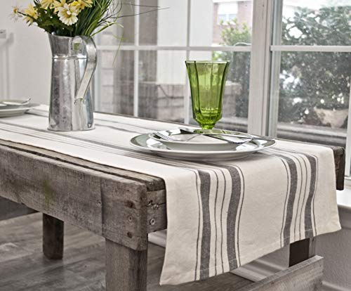 Linens Art And Things Cotton Table Runner Dresser Scarf Coffee Table Runner 165 X 885 Inch In Gray Beige Farmhouse Rustic Decor 0 2