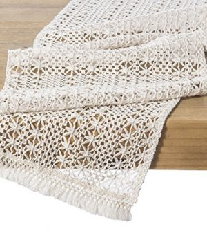 Lings Moment 12 X 108 9 FT Elegant Lightweight Hollow Mesh Macrame Table Runner Cream Crochet Lace Table Cloth For 2019 Boho Beachy Vibes Wedding Party Rustic Farmhouse Dinner Tabletop Decor 0 300x360