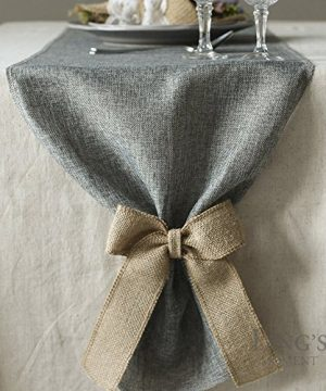 Lings Moment Faux Burlap Table Runner Gray Table Runner 14 X 120 Inch With Bow Ties For Farmhouse Table Runner Dresser Cover Runner Wedding Decorations Party Fall 0 0 300x360