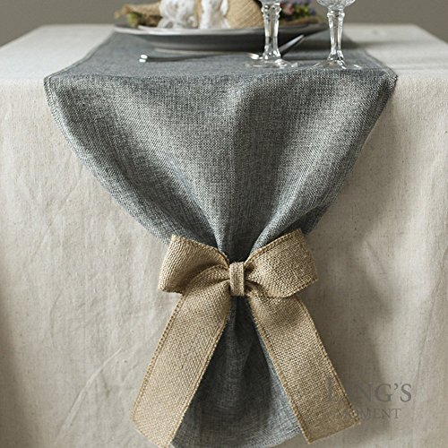 Lings Moment Faux Burlap Table Runner Gray Table Runner 14 X 120 Inch With Bow Ties For Farmhouse Table Runner Dresser Cover Runner Wedding Decorations Party Fall 0 0