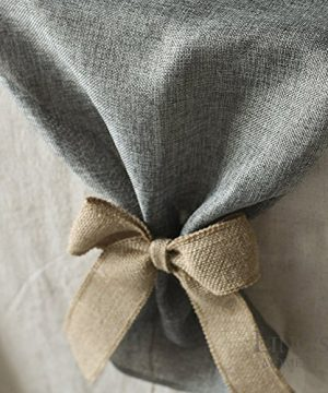 Lings Moment Faux Burlap Table Runner Gray Table Runner 14 X 120 Inch With Bow Ties For Farmhouse Table Runner Dresser Cover Runner Wedding Decorations Party Fall 0 1 300x360