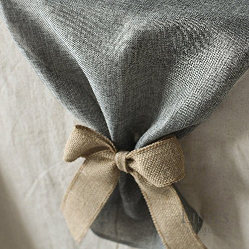 Lings Moment Faux Burlap Table Runner Gray Table Runner 14 X 120 Inch With Bow Ties For Farmhouse Table Runner Dresser Cover Runner Wedding Decorations Party Fall 0 1