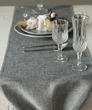 Lings Moment Faux Burlap Table Runner Gray Table Runner 14 X 120 Inch With Bow Ties For Farmhouse Table Runner Dresser Cover Runner Wedding Decorations Party Fall 0 2 300x360