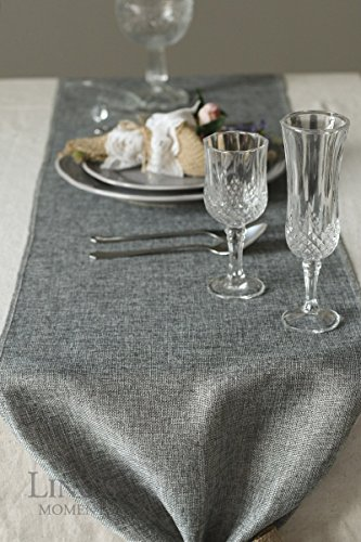 Lings Moment Faux Burlap Table Runner Gray Table Runner 14 X 120 Inch With Bow Ties For Farmhouse Table Runner Dresser Cover Runner Wedding Decorations Party Fall 0 2