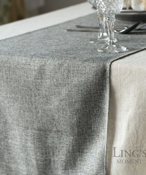 Lings Moment Faux Burlap Table Runner Gray Table Runner 14 X 120 Inch With Bow Ties For Farmhouse Table Runner Dresser Cover Runner Wedding Decorations Party Fall 0 3 300x360