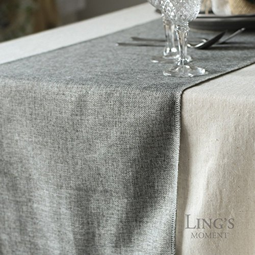 Lings Moment Faux Burlap Table Runner Gray Table Runner 14 X 120 Inch With Bow Ties For Farmhouse Table Runner Dresser Cover Runner Wedding Decorations Party Fall 0 3