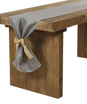 Lings Moment Faux Burlap Table Runner Gray Table Runner 14 X 120 Inch With Bow Ties For Farmhouse Table Runner Dresser Cover Runner Wedding Decorations Party Fall 0 300x360