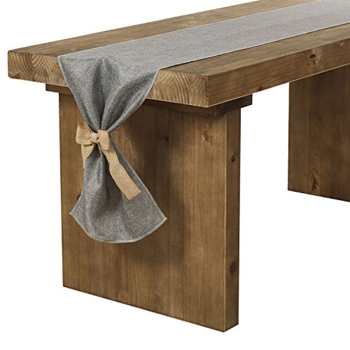 Lings Moment Faux Burlap Table Runner Gray Table Runner 14 X 120 Inch With Bow Ties For Farmhouse Table Runner Dresser Cover Runner Wedding Decorations Party Fall 0