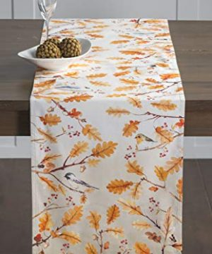 Aspero Maison dHermine Oak Leaves 100/% Cotton Table Runner Double Layer 14.5 Inch by 72 Inch