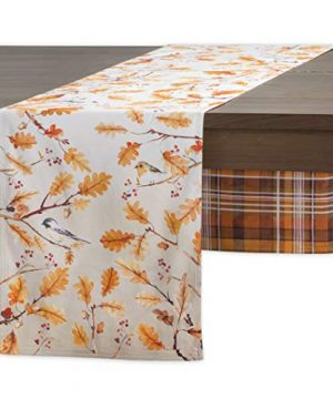 Maison D Hermine Oak Leaves 100 Cotton Table Runner For Party Dinner Holidays Kitchen SpringSummer Double Layer 145 Inch By 108 Inch 0 300x360