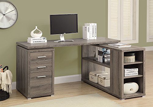 Monarch Specialties Hollow Core Left Or Right Facing Corner Desk Dark Taupe 0 1