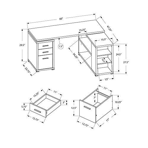 Monarch Specialties Hollow Core Left Or Right Facing Corner Desk Dark Taupe 0 4
