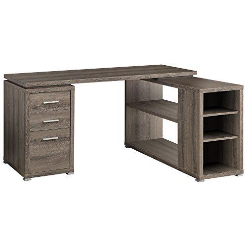 Monarch Specialties Hollow Core Left Or Right Facing Corner Desk Dark Taupe 0