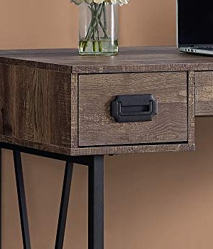 Monarch Specialties Laptop Table With Drawers Industrial Style Metal Legs Computer Desk Home Office 48 L Brown Reclaimed Wood Look 0 0 300x350
