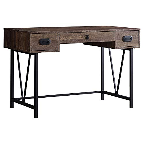 Monarch Specialties Laptop Table With Drawers Industrial Style Metal Legs Computer Desk Home Office 48 L Brown Reclaimed Wood Look 0 1