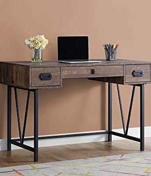 Monarch Specialties Laptop Table With Drawers Industrial Style Metal Legs Computer Desk Home Office 48 L Brown Reclaimed Wood Look 0 300x350