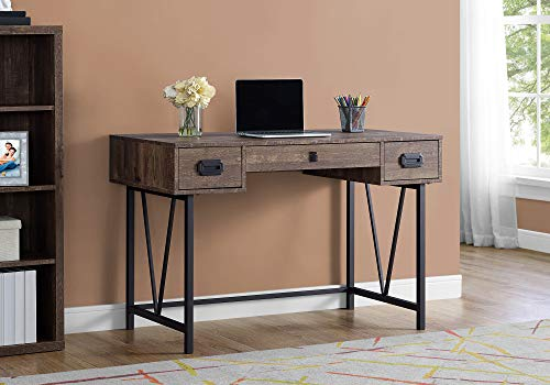 Monarch Specialties Laptop Table With Drawers Industrial Style Metal Legs Computer Desk Home Office 48 L Brown Reclaimed Wood Look 0