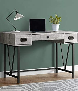 Monarch Specialties Laptop Table With Drawers Industrial Style Metal Legs Computer Desk Home Office 48 L Grey Reclaimed Wood Look 0 300x350