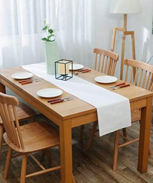 NATUS WEAVER Dinning Table Runner Cloth 12 X 60 Inches Farmhouse Kitchen Coffee Burlap Table Runner Cloth For Holiday Party Pure White 0 2 300x360