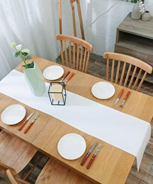 NATUS WEAVER Dinning Table Runner Cloth 12 X 60 Inches Farmhouse Kitchen Coffee Burlap Table Runner Cloth For Holiday Party Pure White 0 3 300x360