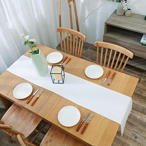 NATUS WEAVER Dinning Table Runner Cloth 12 X 60 Inches Farmhouse Kitchen Coffee Burlap Table Runner Cloth For Holiday Party Pure White 0 3